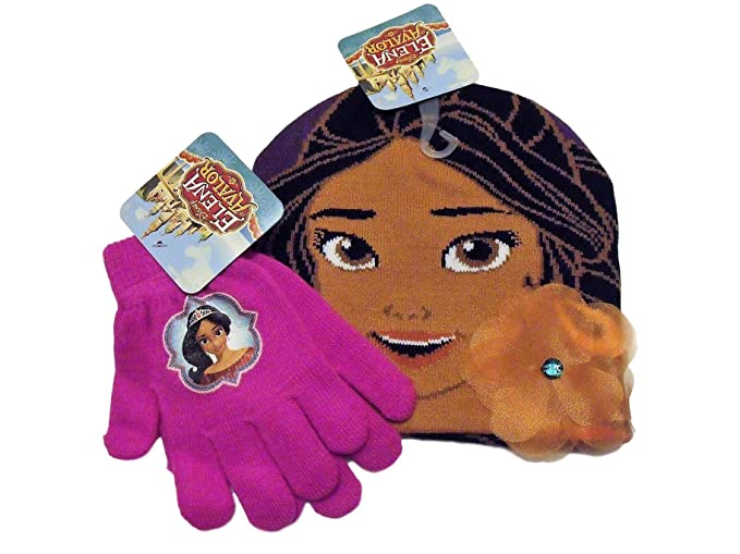 the best attitude 0b592 15bfe Image Unavailable. Image not available for. Color  Disney Elena of Avalor  Purple Knit Beanie Hat Hot Pink Gloves Set