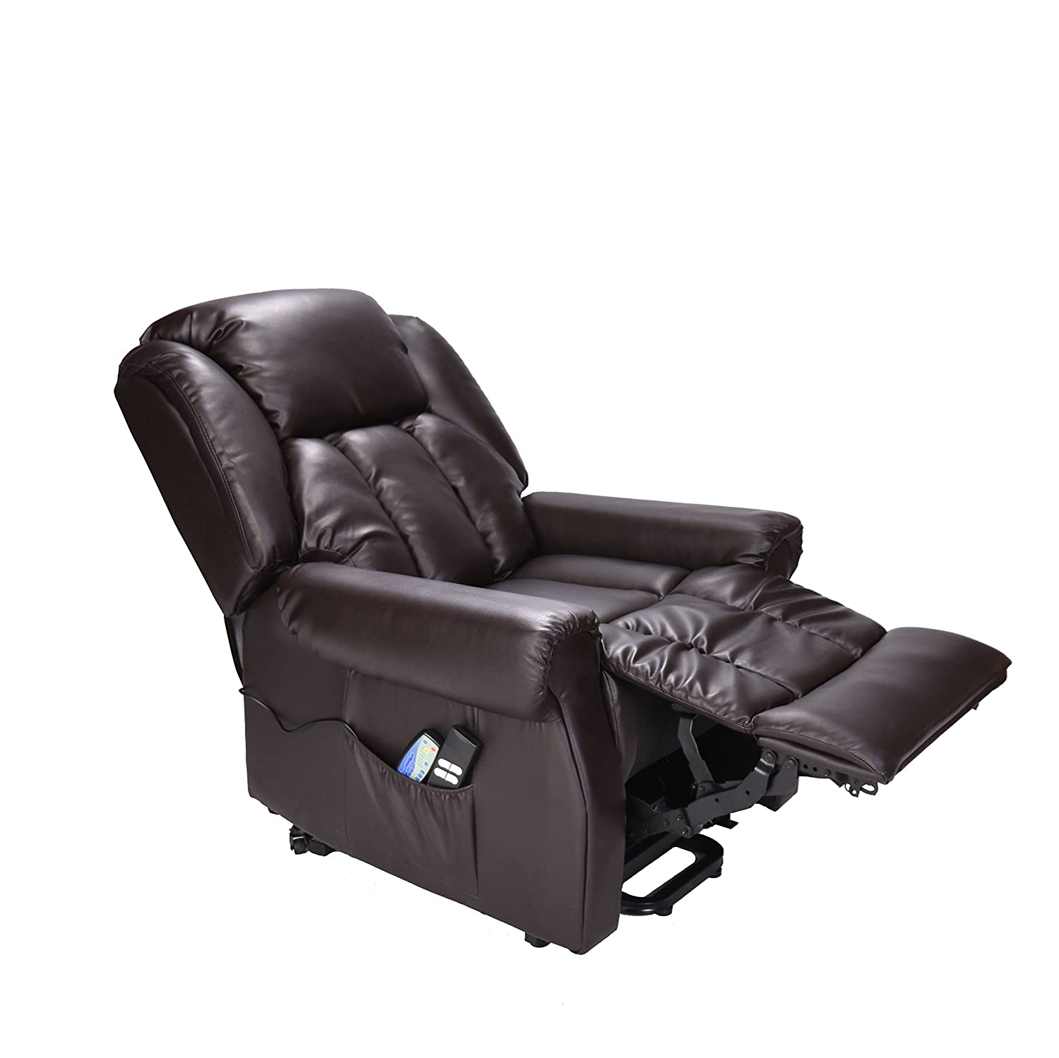 Hainworth Leather Dual Motor riser recliner chair with heat and