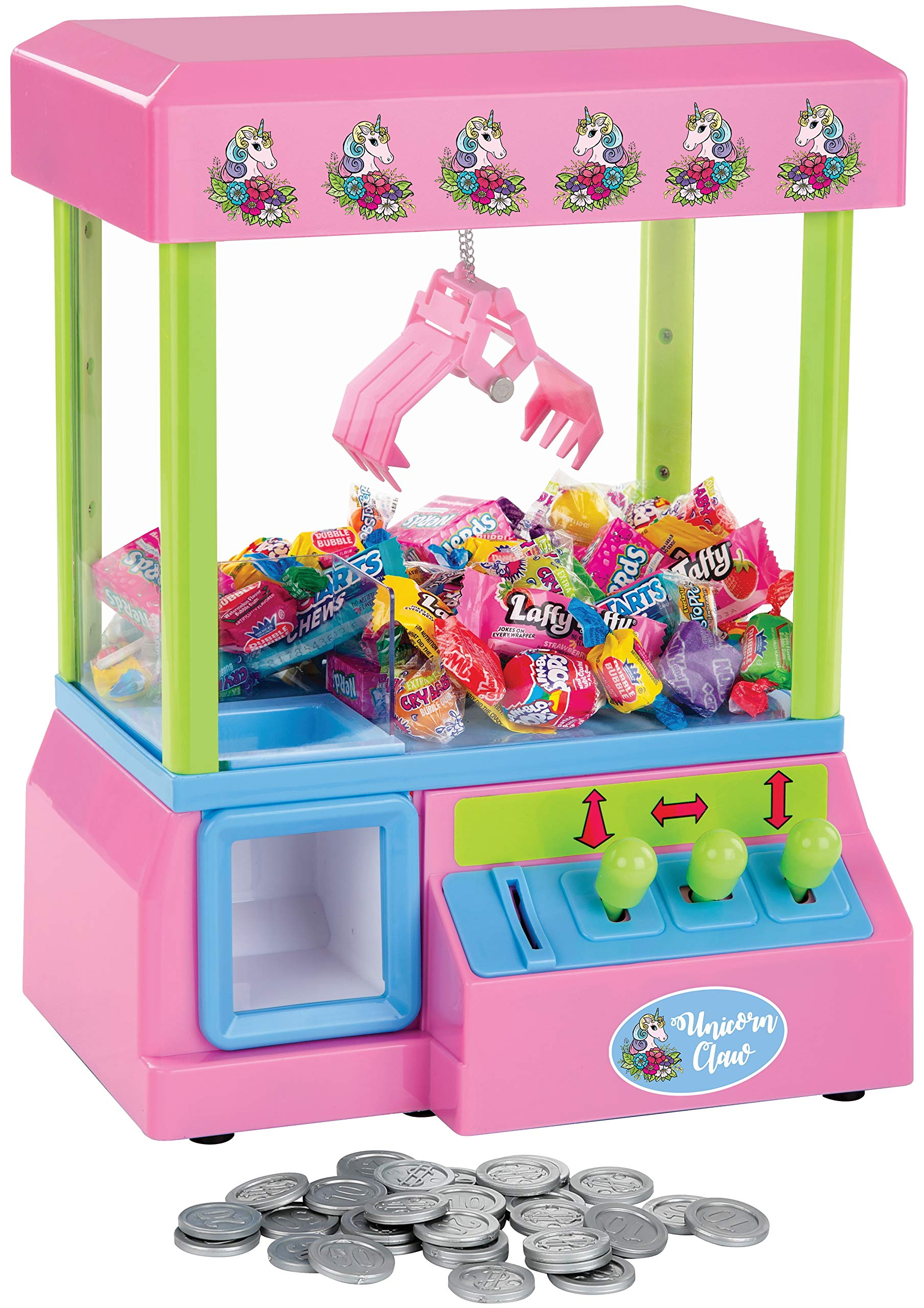 Bundaloo Unicorn Mini Claw Machine - Retro Grabber Arcade Game for Kids - Candies, Toys, Treats Catcher, Small Vending Dispenser - 30 Tokens, 3-Lever Design, Fun Sound Effects - 10 x 13.5 x 8 Inches by Bundaloo