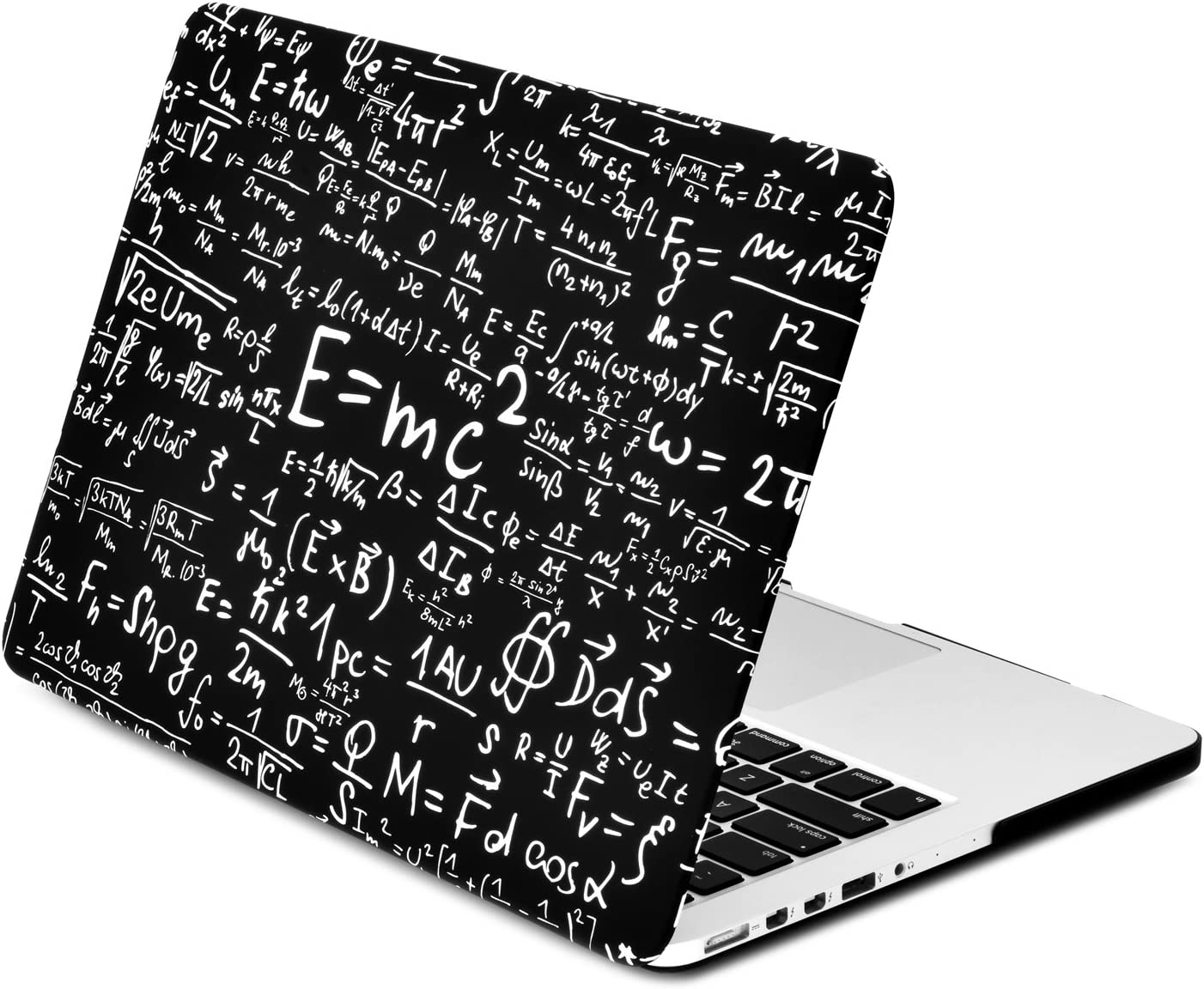 """TOP CASE - Black Physics Compatiblemulas Rubberized Hard Case Compatible MacBook Pro 13"""" with Retina Display (Release 2012-2015) Model A1425 / A1502"""