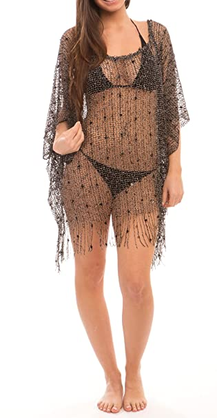 5679f87b5c3 Women's Sexy Swimwear Hollow Mesh Fringe Poncho Cover Up Beach Dress (BLACK)