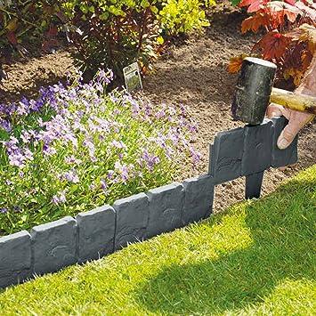 10 Stuck Dark Grau Gepflasterten Stein Effekt Garden Rasenkante