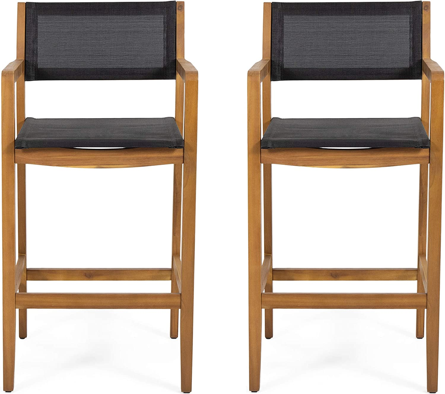 Christopher Knight Home 312830 Calista Acacia Wood Barstools with Outdoor Mesh (Set of 2), Teak and Black