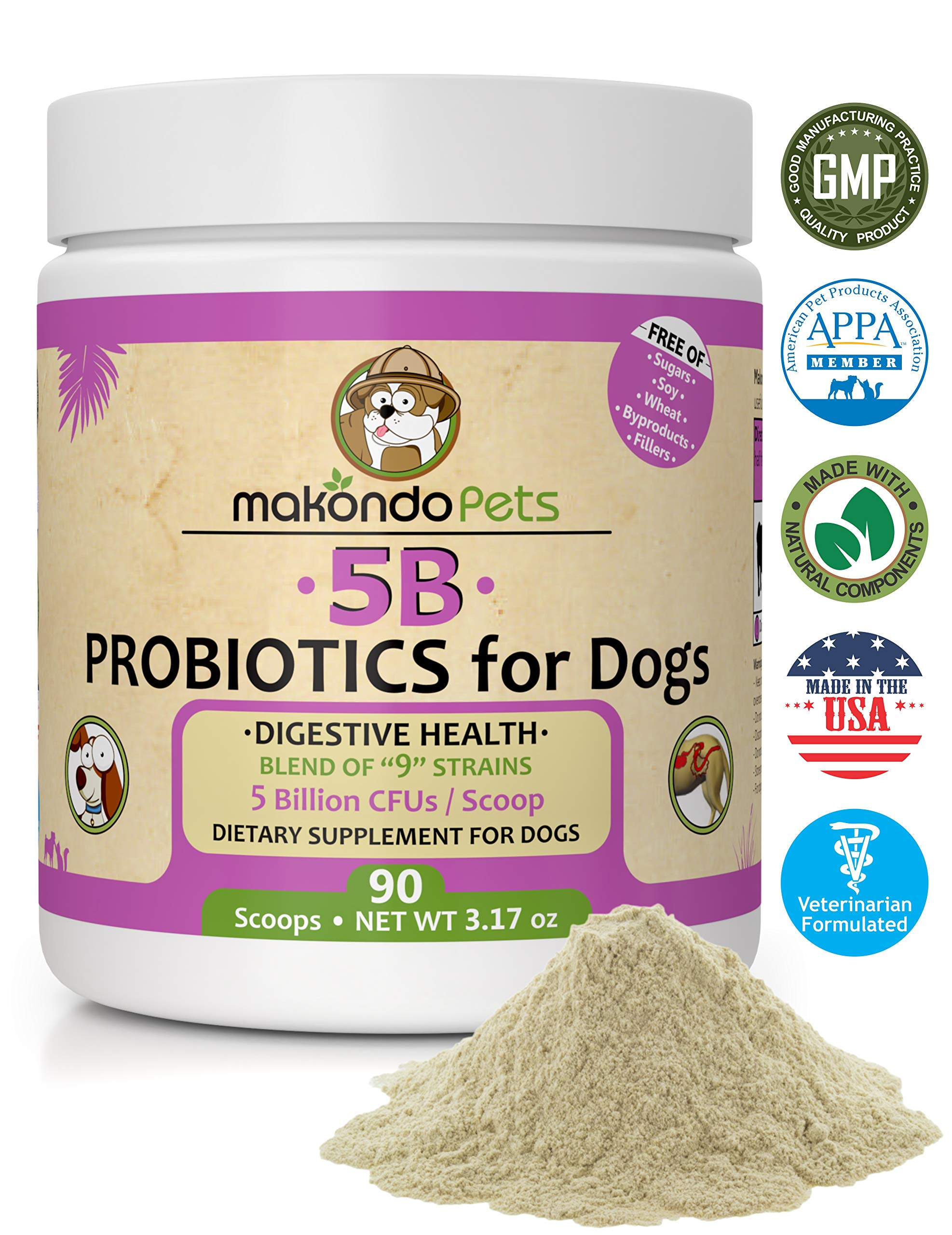 Makondo Pets Probiotics for Dogs & Puppies - Flavored, Made in USA, Extra Strength 9 Species Digestive Support Tummy Relief Enzyme Powder, 5 Billion CFUs per Scoop - 90 Scoops per Tub, 3.17 oz by Makondo Pets