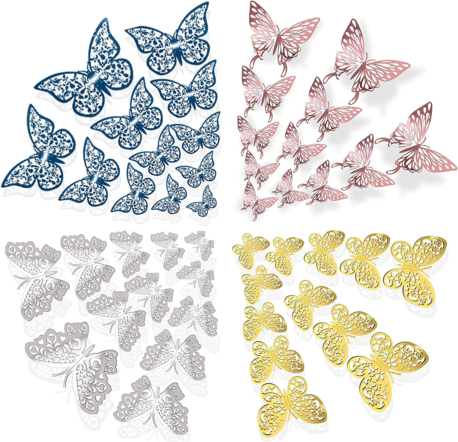 48pcs 3D Butterfly Wall Stickers,3 Sizes Butterflies Wall Decals Removable Mural Stickers Decor for Home and Room Decoration (3D Butterfly-1)