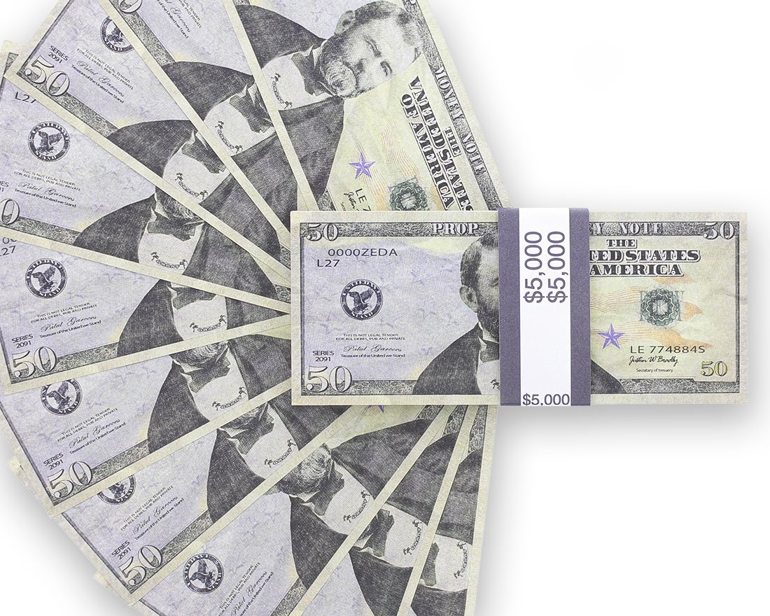 7095fc722b3d Realistic Double Sided Prop Money - Set of 100  50 Dollar Bill Total  5