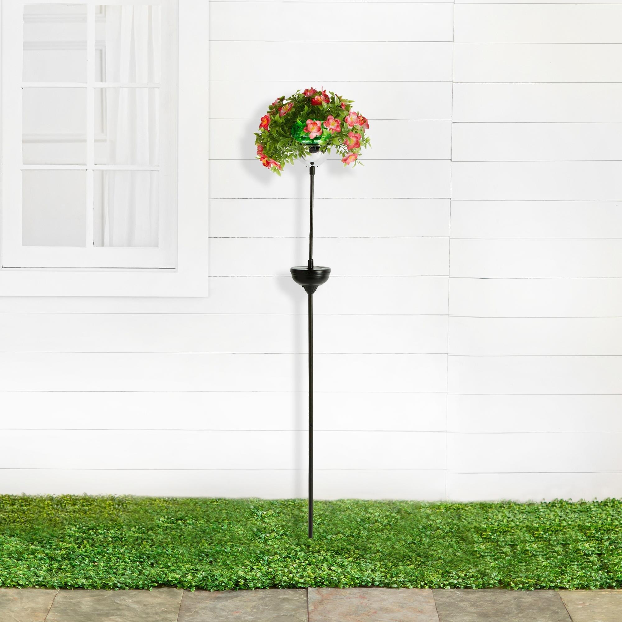 Solar Power Floral Garden Stake ( Pink Flowers)
