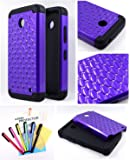 Thousand Eight(TM) For Nokia lumia 635, Nokia lumia 630 Diamond Studded Silicone Rubber Skin Hard Case + [Screen Protector Shield(Ultra Clear)+Thousand Eight(TM)Touch Screen Stylus] (Diamond purple)