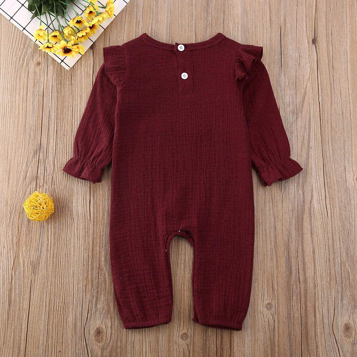 GWJGOGO Newborn Baby Girl Romper Bodysuit Long Sleeve Cotton Linen Jumpsuit One Piece Ruffle Clothes with Dot