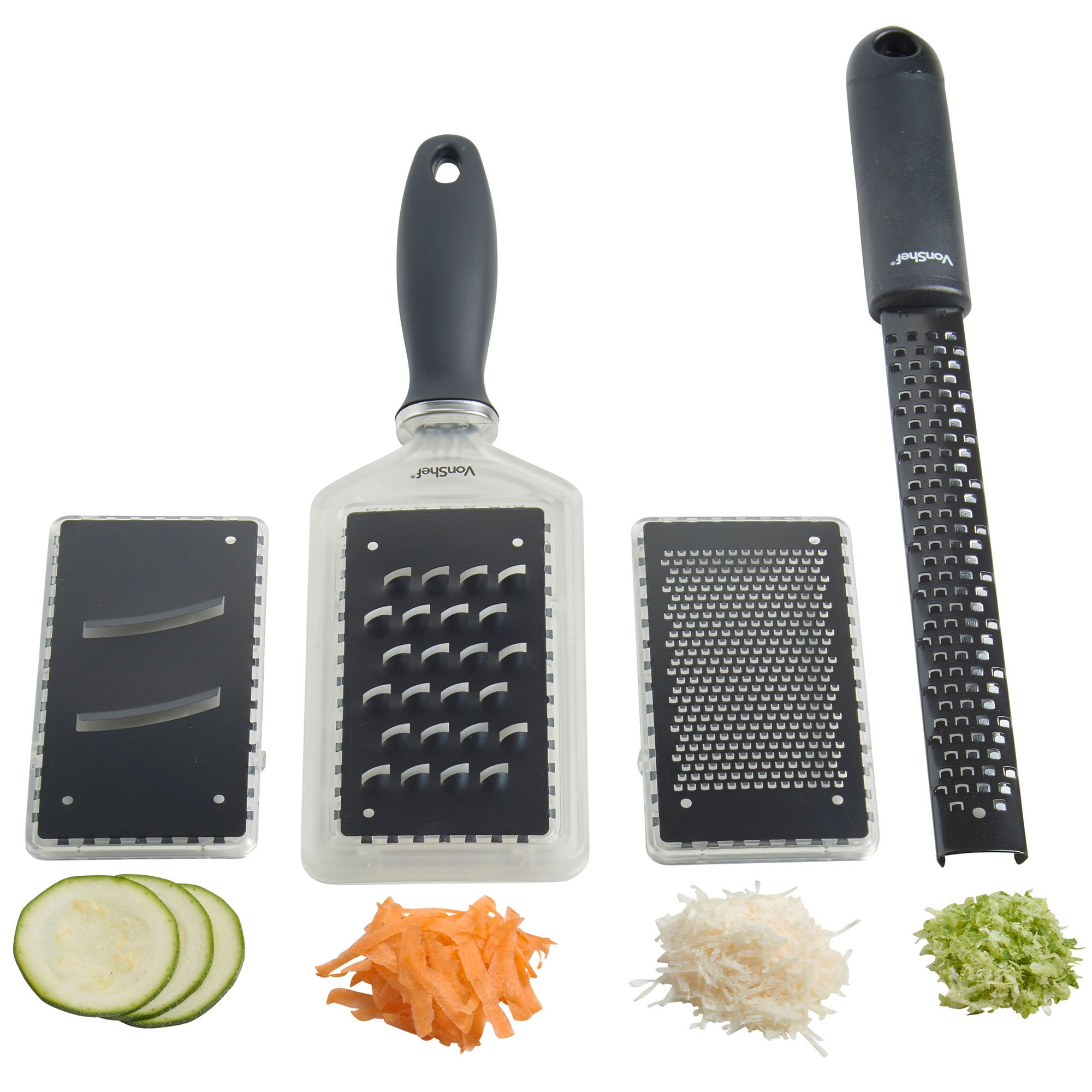 VonShef 4 Piece Cheese Grater & Zester Set with Interchangeable Stainless Steel Blades & Protective Cover