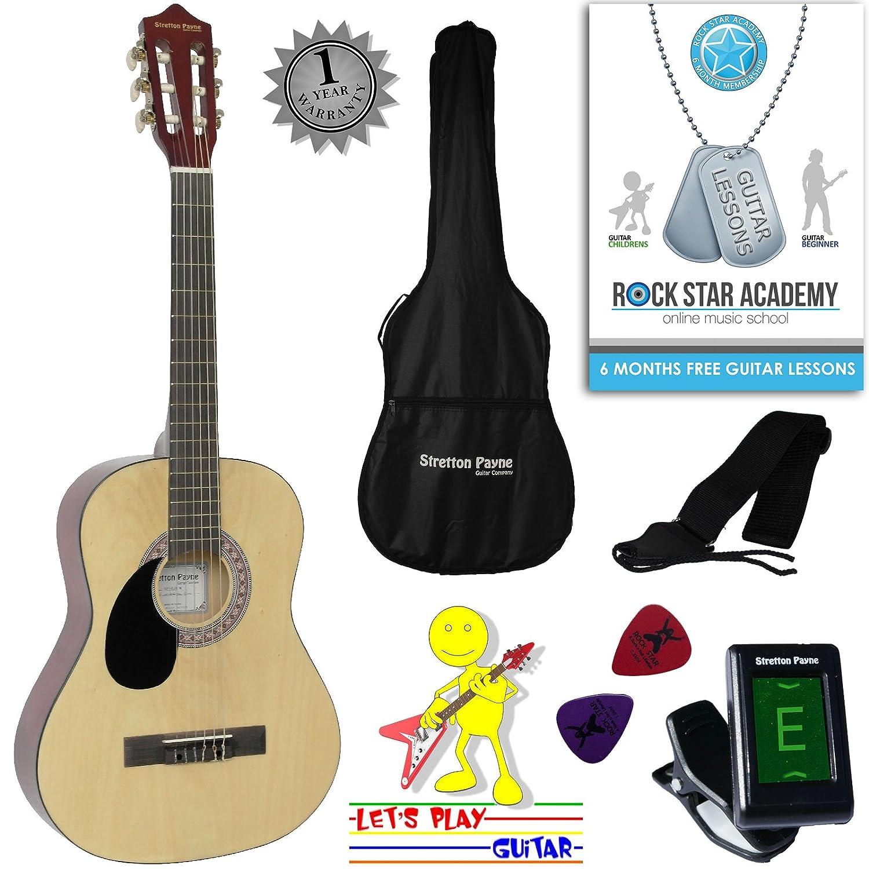 Guitarra acústica de mano izquierda, paquete de 3/4 tamaños (36 pulgadas), cuerda de nailon clásica para niños, paquete de guitarra natural Stretton Payne SP34LH