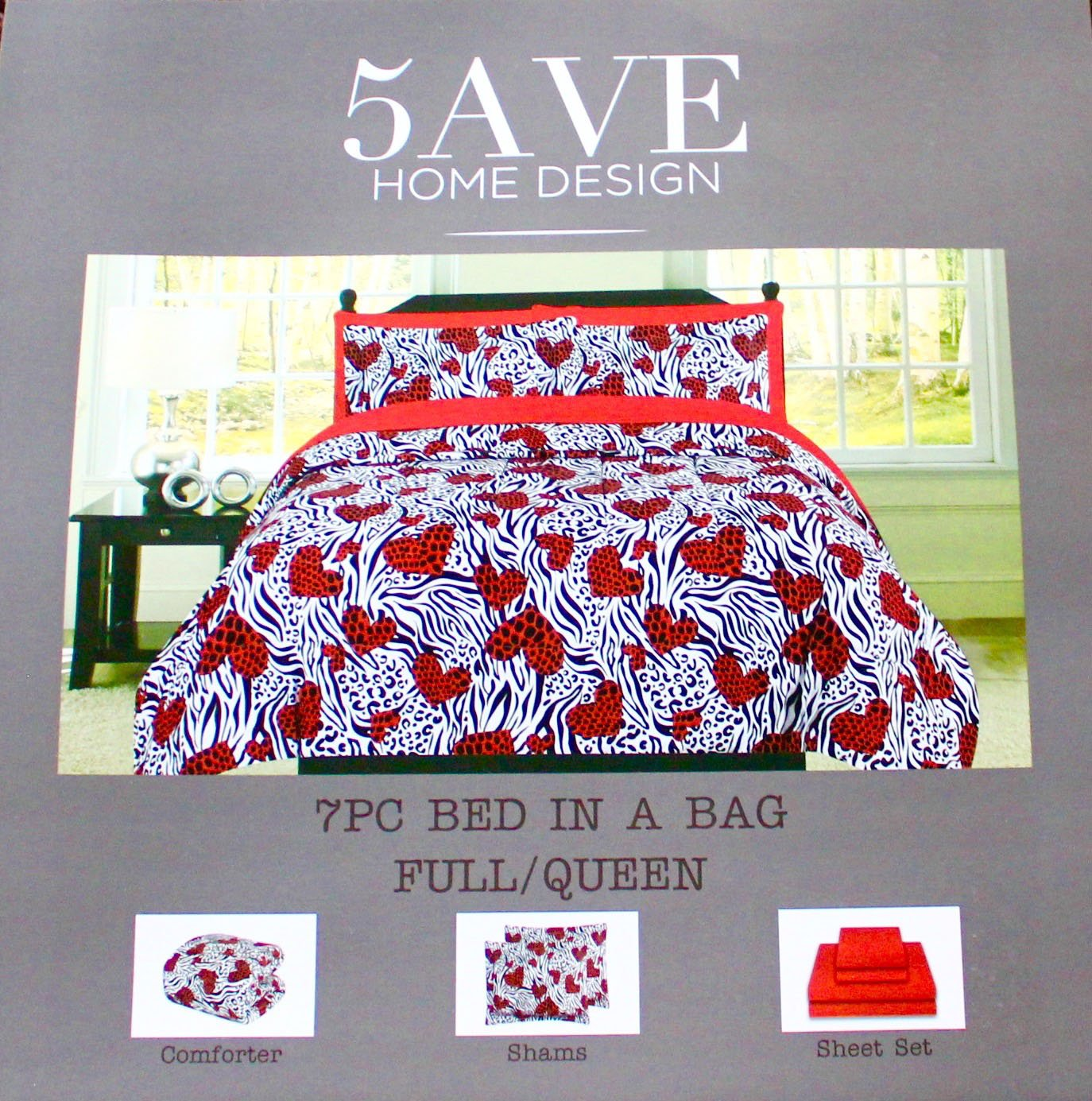 5AVE Home Design 7pc Safari Zebra Cheetah Hearts Red Black & White Queen Size Comforter Set with Sheet Set