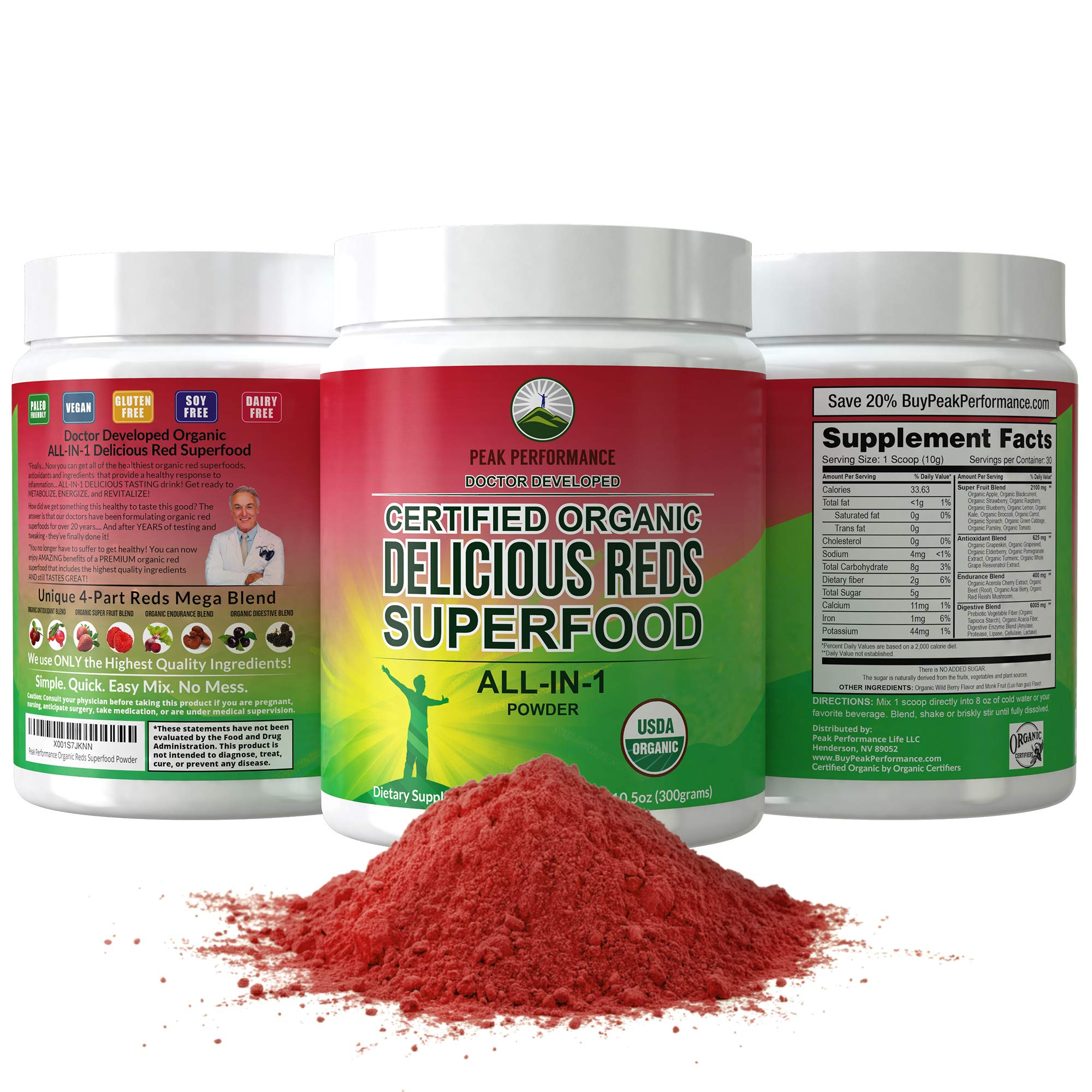 Organic Reds Superfood Powder. Best Tasting Organic Red Juice Super Food with 25+ All Natural Ingredients and Polyphenols. Vital for Max Energy + Detox. Raspberry, Elderberry, Beetroot