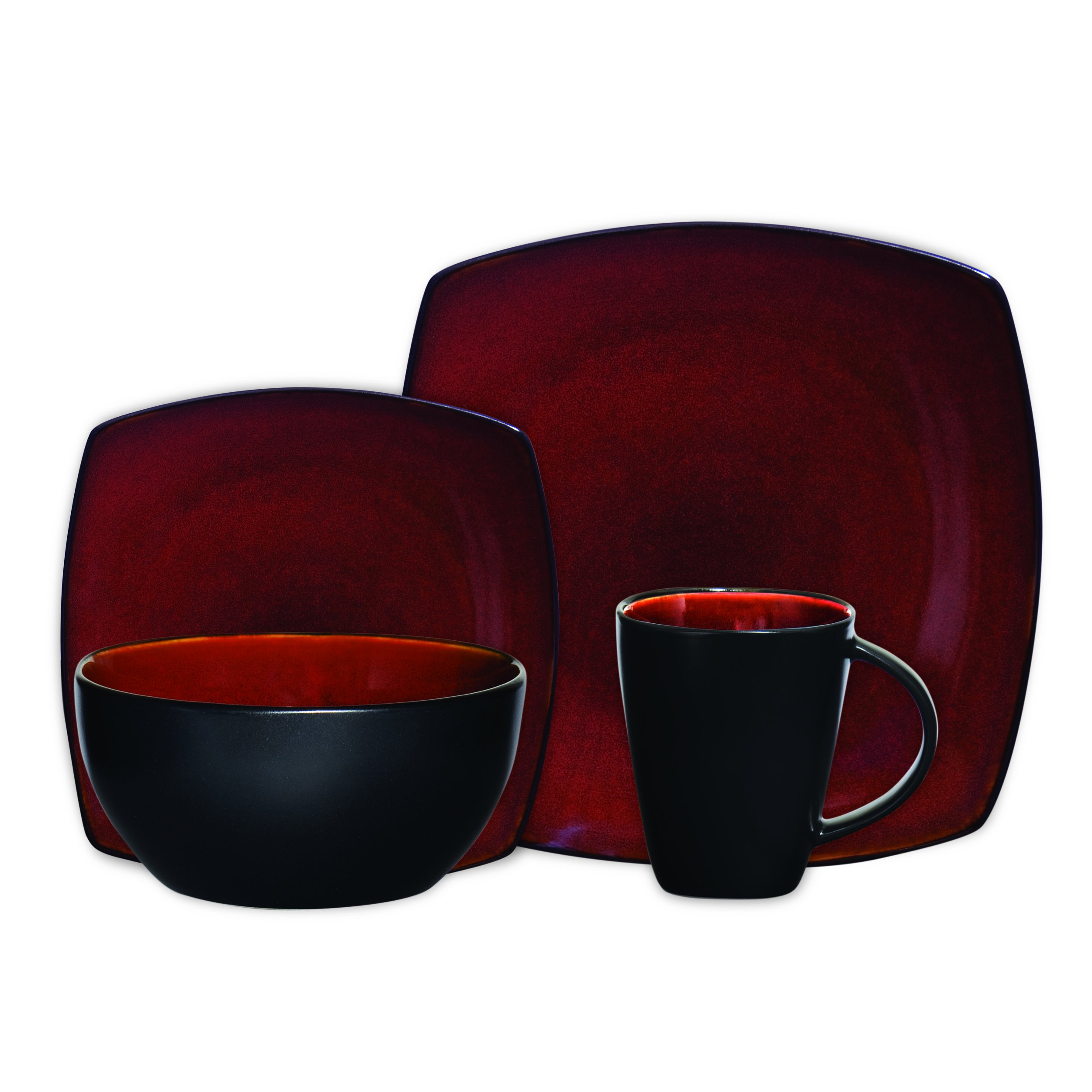Gibson Elite Soho Lounge Reactive Glaze 16 Piece Dinnerware Set in Red; Includes 4 Dinner Plates; 4 Dessert Plates, 4 Bowls and 4 Mugs by Gibson