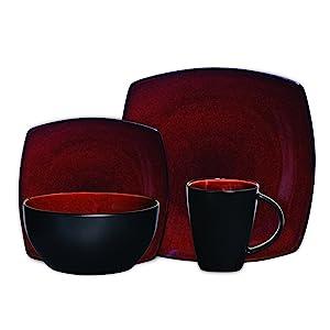 Gibson Elite Soho Lounge 16-Piece Square Reactive Glaze Dinnerware Set, Red