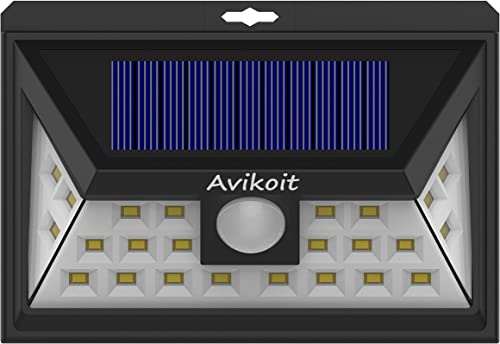 Avikoit 24 LED Solar Wireless Waterproof Outdoor Lights, 270 Lightning Angle with Motion Sensor 3 Optional Modes, for Front Door Balcony Garden Courtyard Garage Runway Stairs 1 Pack