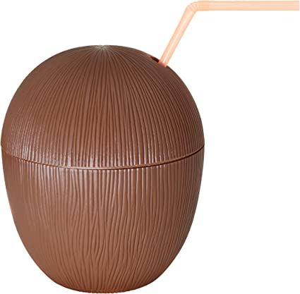 5.5 Inch Party Cups Plastic Coconut Cups With Straws Party Favors For Hawaiian Themed Parties And Beach Parties Pack Of 12 SN Incorp.