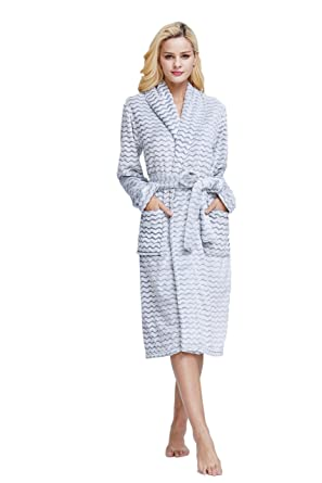 XMASCOMING Women s   Men s Coral Fleece Bath Robe Dressing Gown Housecoat  Bathrobe at Amazon Women s Clothing store  2f9641a09