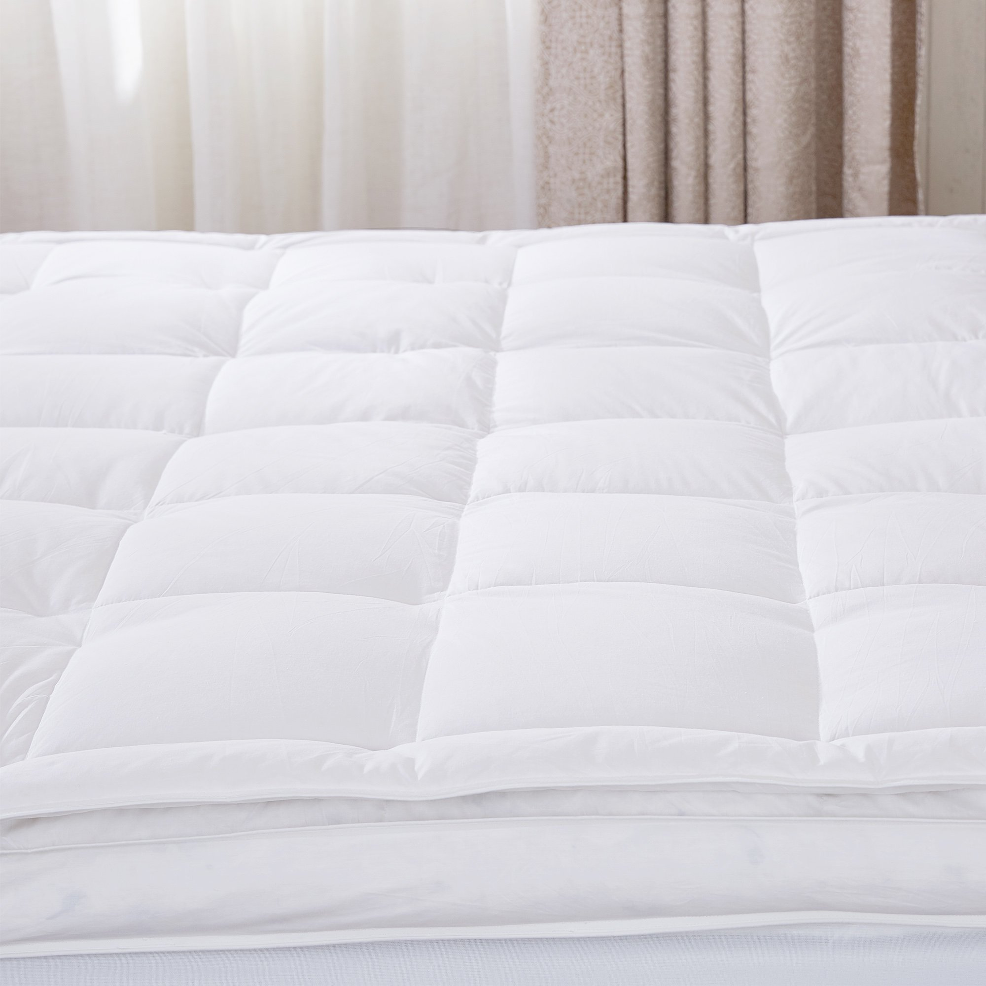 puredown Premium Natural White Goose Down Feather Overfilled Bed Topper 100% Cotton Fabric Mattress Pad Queen Down by puredown (Image #3)