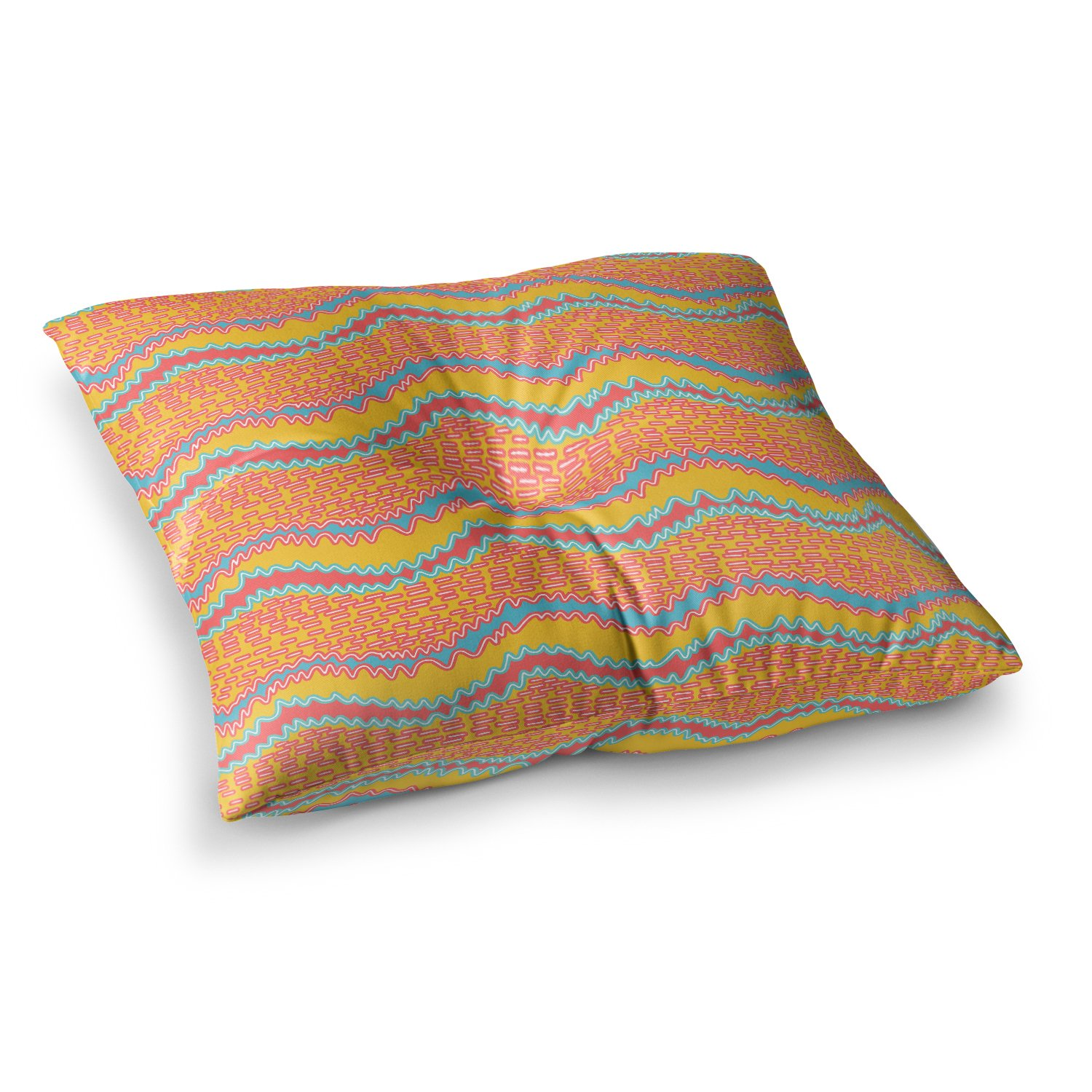 26 x 26 Square Floor Pillow Kess InHouse Nandita Singh Pink Waves Orange Yellow