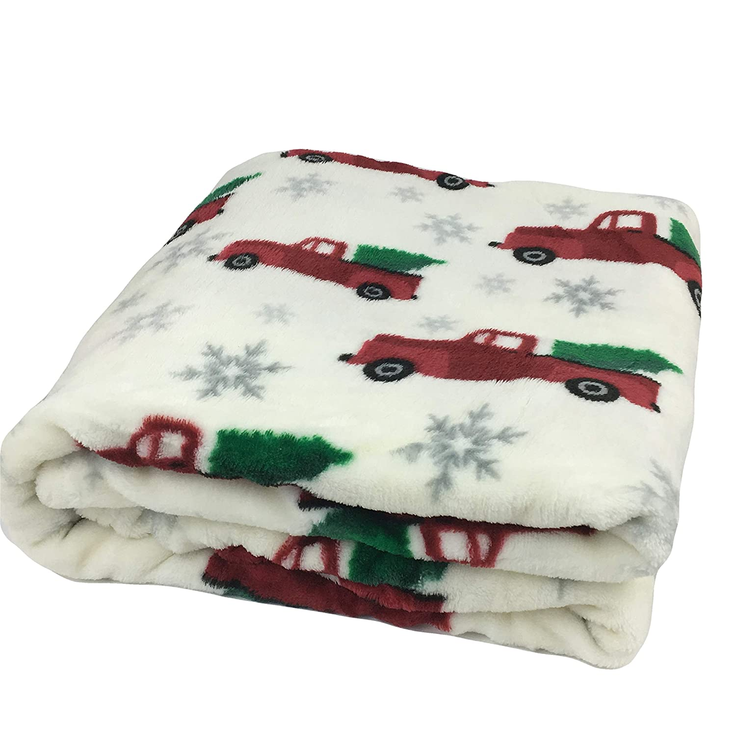 Christmas Velvet Plush Throw Blanket Red Trucks with Trees