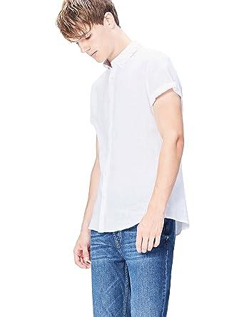 fa6d90ca3ba7e FIND Camisa de Lino de Manga Corta y Corte Entallado para Hombre  Amazon.es   Ropa y accesorios