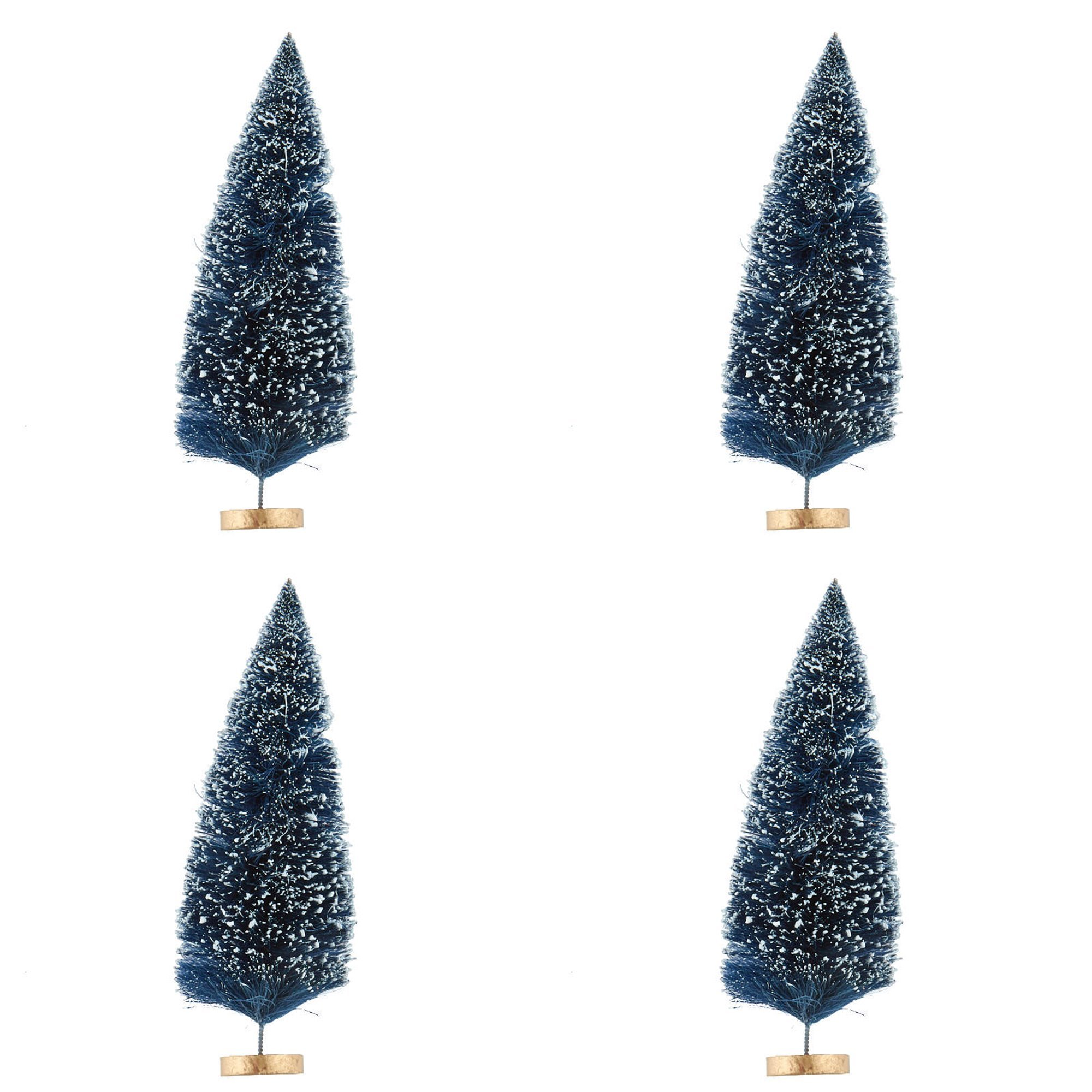 9 Inch Miniature Frosted Navy Blue Bottle Brush Trees on Wood Bases - 4 Trees