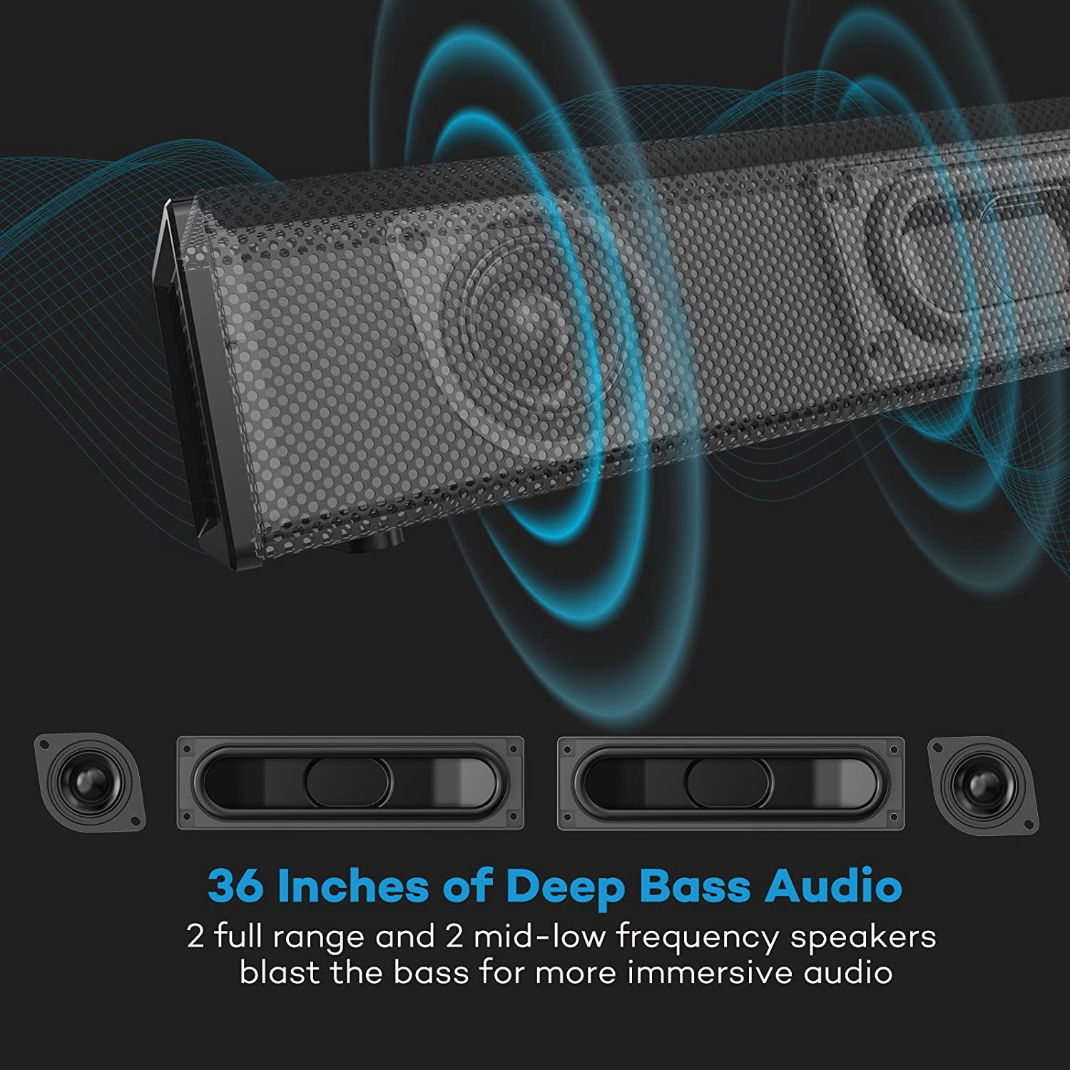 Soundbar, 36-Inch 4 Speakers Strong Bass TaoTronics Sound Bar Wired and Wireless Bluetooth Audio Speakers for TV (Home Theater Surround Sound, ...
