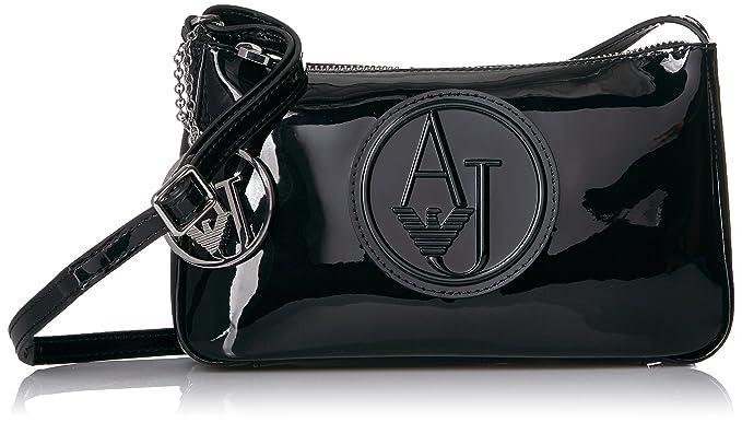 Amazon.com: Armani Jeans bolsa de Patentes Sling, negro ...