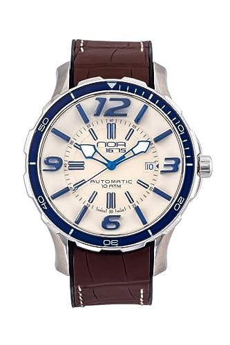 Noa hombres de Swiss reloj automático – Premium pantalla analógica con crema y marrón Alligator reloj