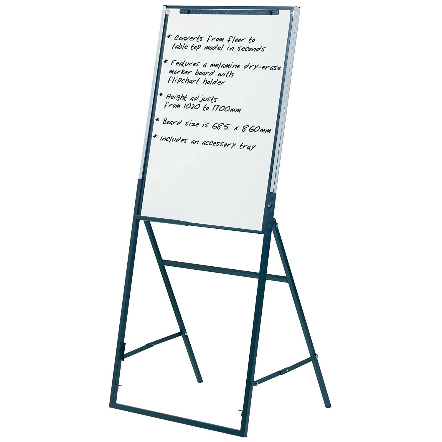 Quartet Futura Easel, Whiteboard/Flipchart, 24 x 36 Inches, Black Frame (351900) ACCO Brands