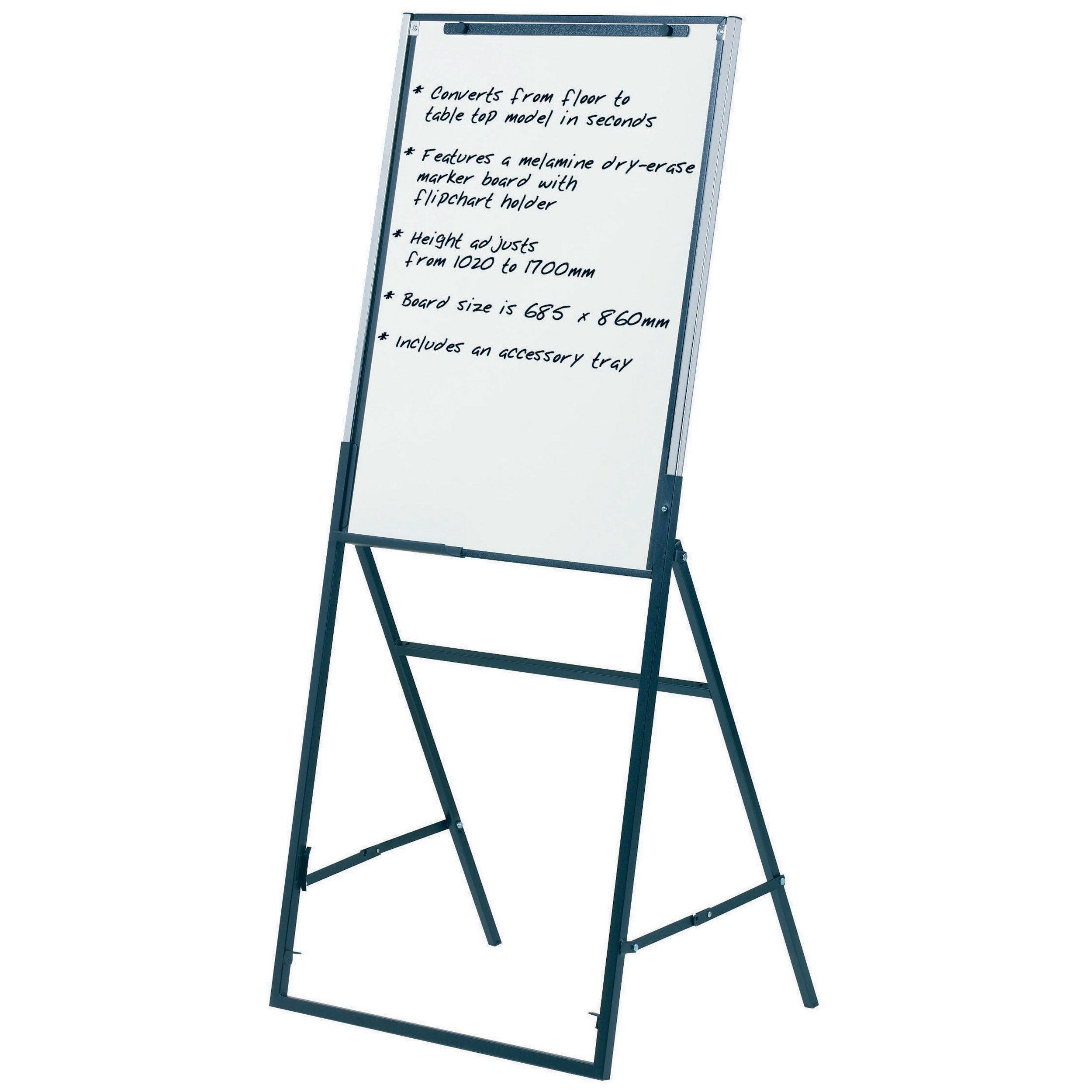 Quartet Futura Easel, Whiteboard/Flipchart, 24 x 36 Inches, Black Frame (351900) by Quartet