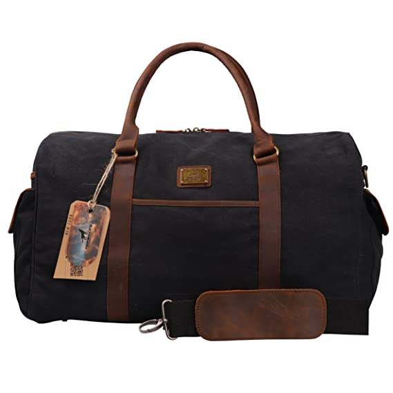 099f09d502a9 Canvas Duffel Bag TOPWOLFS 22 quot  Travel Duffle Bag Tote Large Holdall  Luggage Carry On Weekender