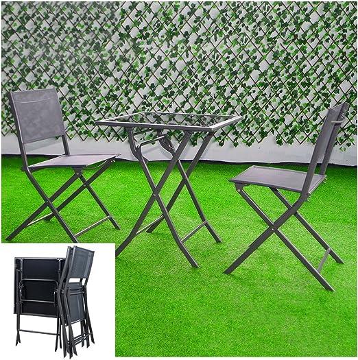 Juego de mesa de café y sillas plegables BS Outdoor Bistro de 3 ...