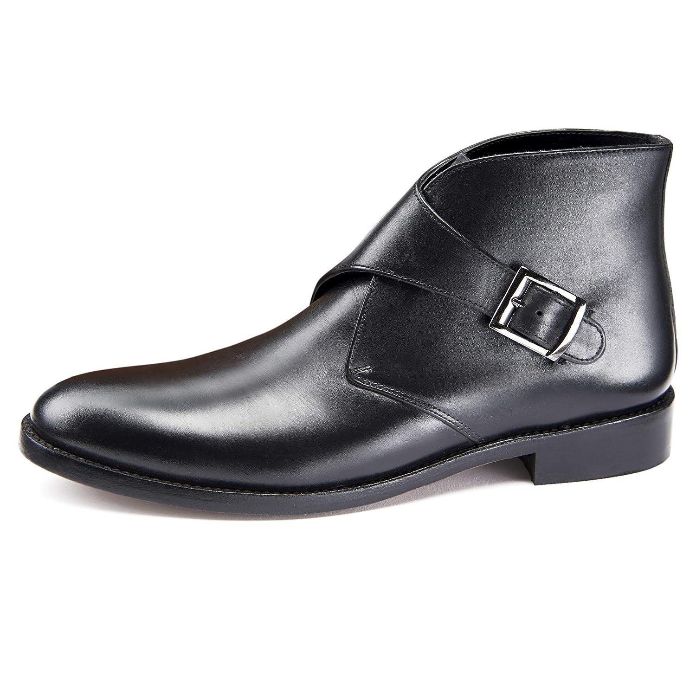 b04ade04312 Samuel Windsor Men's Prestige Leather Handmade Black Monk Boots ...