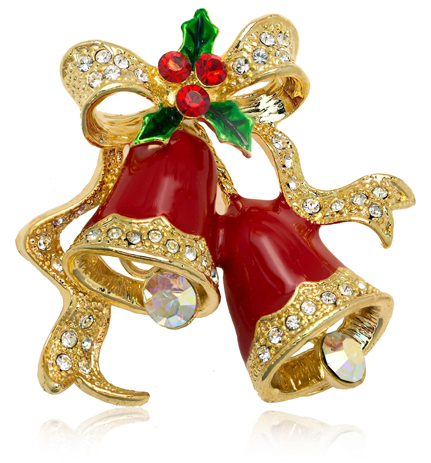 Akianna Christmas Bells Pin Brooch with Swarovski Element Crystals