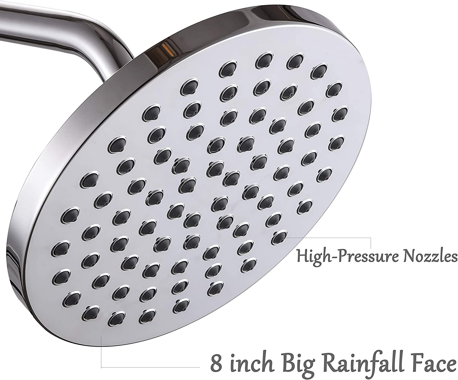 Arm Not Included 8 Inch Round Rain Shower Head High Pressure Rainfall Showerhead Adjustable Swivel Ball Joint Easy Install Chrome Finish Stainless Steel Back