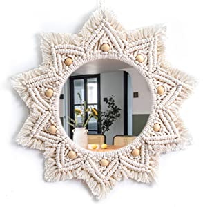 TENEWEE Macrame Mirror Wall Hanging Boho Decorative Mirror for Home Decor