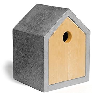 betoniu hormigón Manufaktur: Diseño Caja Nido/Casa De Pájaros para herrerillos. De Hormigón/madera, agujero 35 mm. el original - para jardín, ...