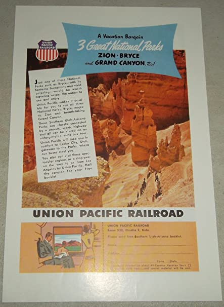 Single Original Vintage Print Ad Union Pacific Railroad 3 Great National Parks Zion