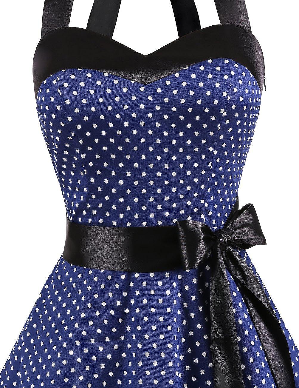 DRESSTELLS Damen Neckholder 1950er Vintage Retro Rockabilly Kleider Petticoat Faltenrock Cocktail Festliche Kleider
