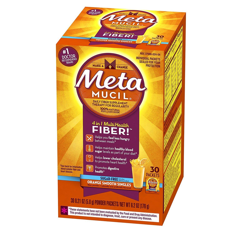 Metamucil Fiber Singles Smooth Texture Sugar Free Orange - 30 Packets