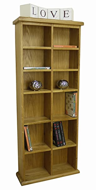 Tresco   Chunky Oak Vertical CD / DVD Storage Unit Tall Wide Double Rack  Tower /