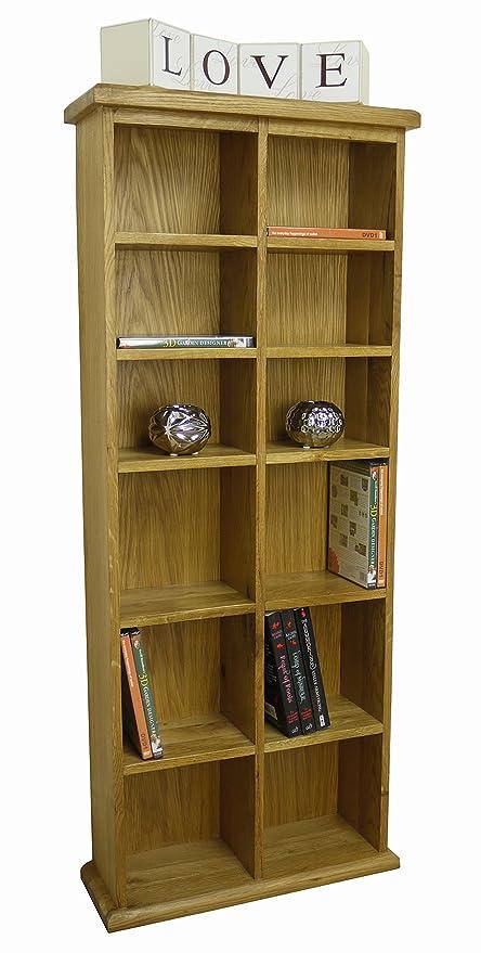 Tresco - Armadio verticale porta cd/dvd in solido legno di rovere ...
