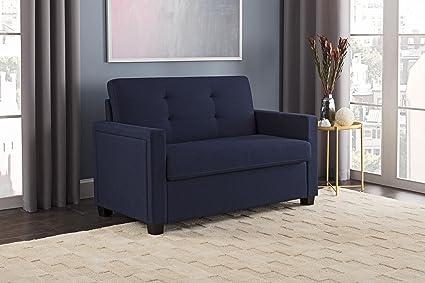 Miraculous Amazon Com Blue Linen Sleeper Sofa Tufted Seat Back Machost Co Dining Chair Design Ideas Machostcouk