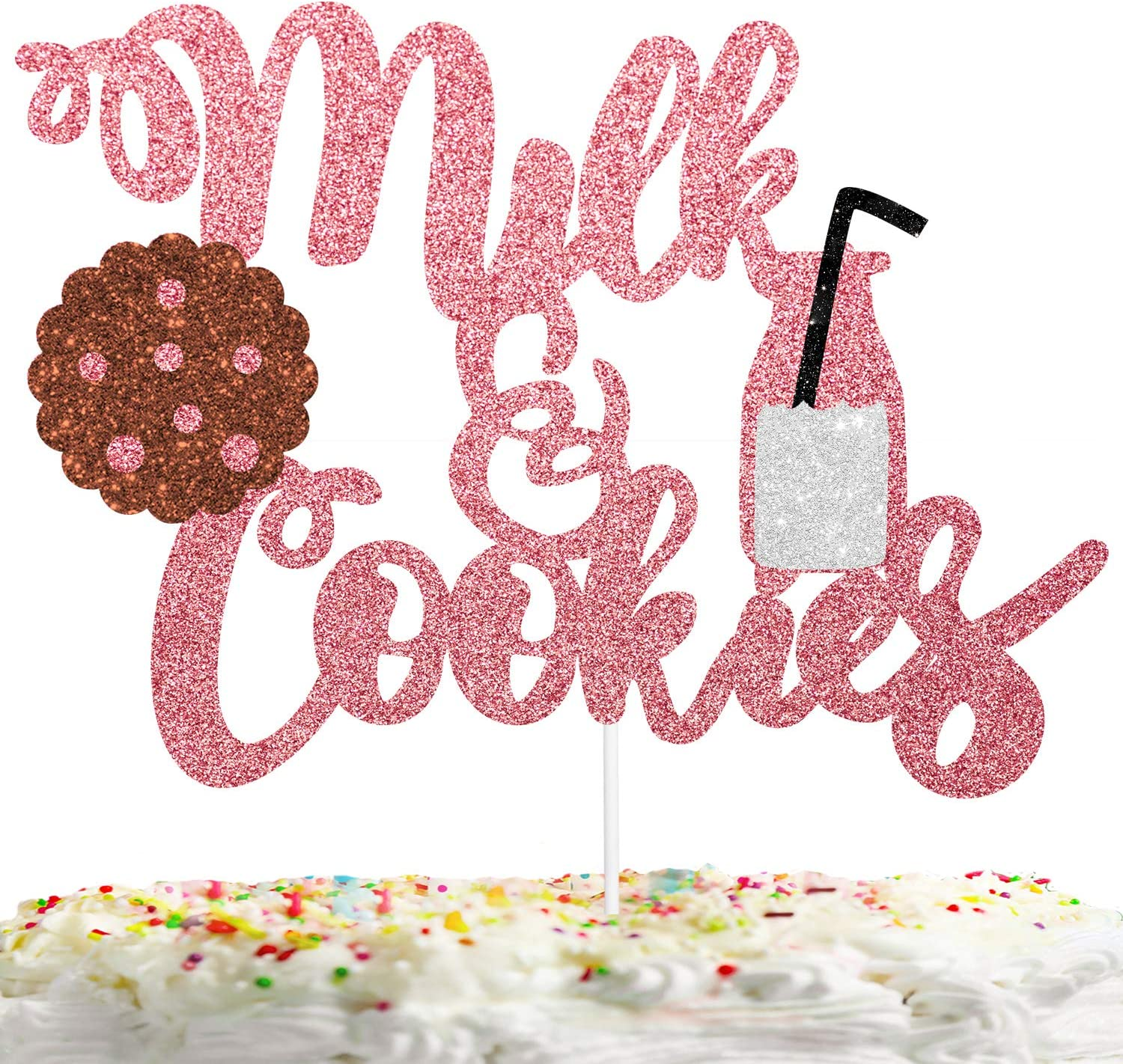 Milk and Cookies Cake Topper Sweet Birthday Decor Gender Reveal Theme Picks for Baby Shower Party Decorations Supplies