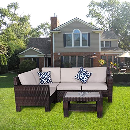 Diensday Patio Outdoor Furniture Sets Clearance Sofa Sectional Cushions  Chairs Seating Set Conversation Wicker Chair Resistant