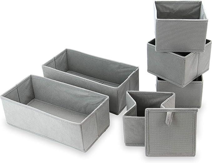 Organizadores de cajones | Cajas de almacenamiento de tela plegables | Sujetador, calcetines, insertos para cajones de ropa interior | M&W (juego de 6): Amazon.es: Hogar