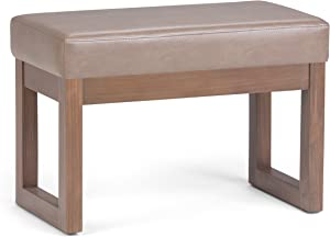 Simpli Home 3AXCOT-252-SM-ASB Milltown 27 inch Wide Contemporary Footstool Ottoman Bench in Ash Blonde Faux Leather