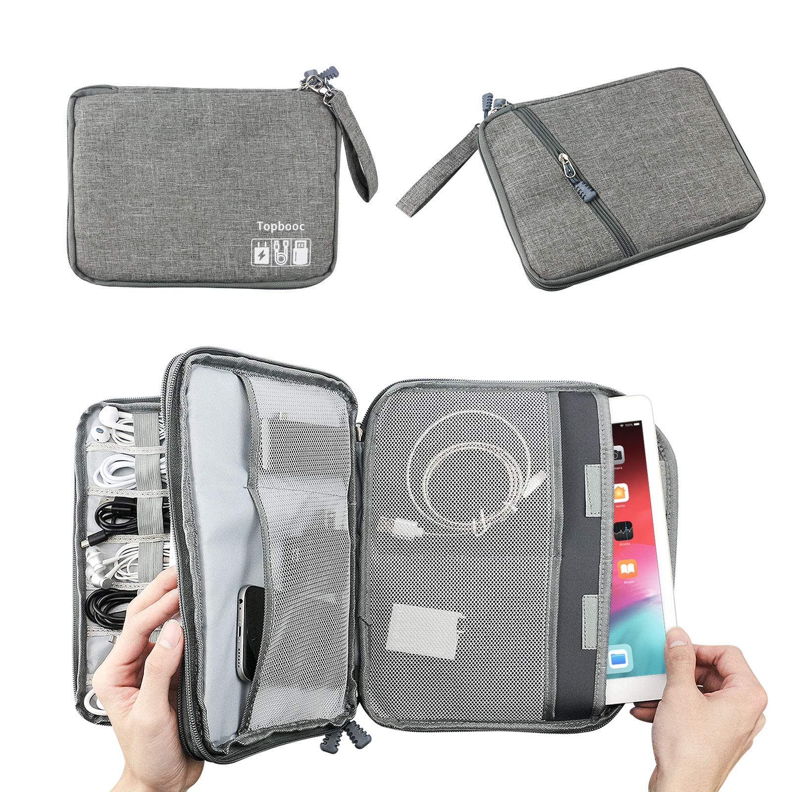 Universal Electronics Accessories Organizer, Waterproof Portable Cable Organizer Bag,Travel Gear Carry Bag for Cables (L, Classic-Grey)